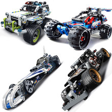 Decool Compatible technic trucks pull back racer car moto sets kit Building Blocks F1 DIY MOC Bricks children toys gifts(China)