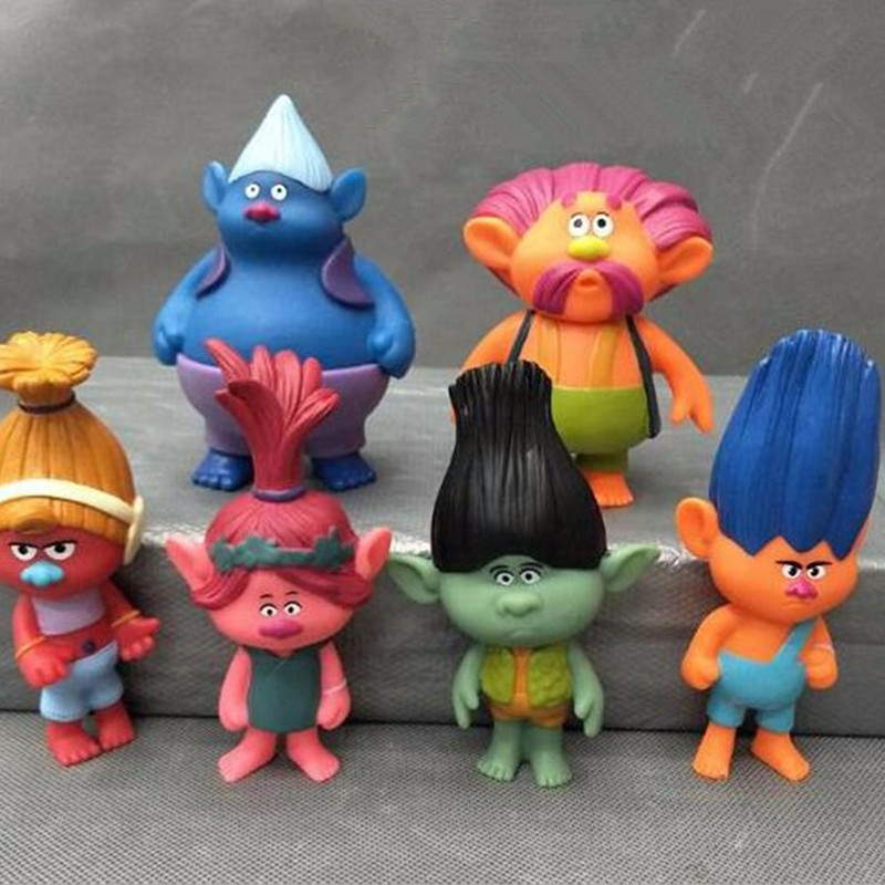 6pcs/set  Disney Trolls Dolls Action Figures Toys Popular Anime Cartoon The Good Luck Trolls Dolls PVC Toys for Children Gift anime cartoon the good dinosaur arlo spot pvc action figure cliff forrest ivy dolls for children kids gifts 6pcs set