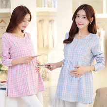 Fashion Plaid Maternity Clothes For Pregnant Women Clothes Long Sleeve Maternity Photography Props Pregnant Dress BB57