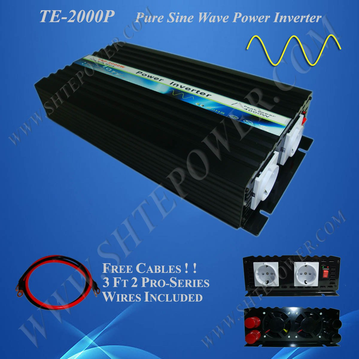 DC 12v to AC 230V Pure Sine Wave Solar Power Inverter 2KW 2000w with Germany Socket 2000w pure sine wave grid tie power inverter with internal limiter dc 45 90v to ac 230v for solar pv connected mppt function