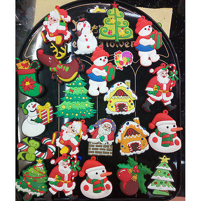 5pcs/lot Cartoon Fridge Magnets Kid Kawaii Snowman Christmas Tree Santa Claus Decor Souvenir Small Magnetic Sticker Random Color(China)
