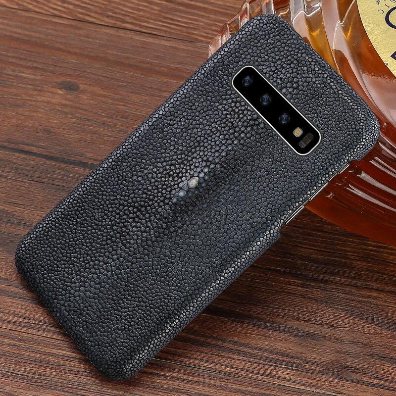 Cuir véritable perle poisson pour Samsung S10 plus coque de téléphone luxe Anti-chute couleur unie étui pour Samsung A70 note 10
