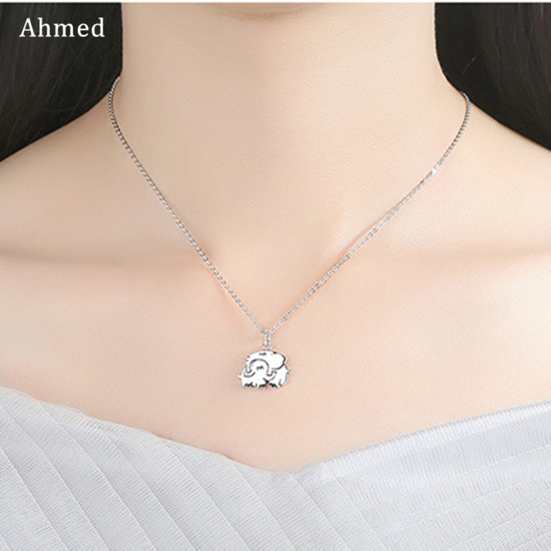 Ahmed 2019 New Fashion Double Elephant Necklaces for Women Mama Baby Pendants Women Female Jewelry Mom Gifts image