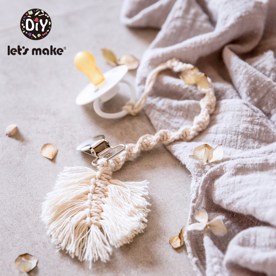 Let'S Make Baby Teething Pacifier Chain Cotton Rope Woven Chain Without Nipple Toy For Children 0-12 Months Teether Dummy Holder