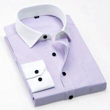 MACROSEA, мужские рубашки в полоску с белым воротником, мужские рубашки для бизнеса/офиса, Мужская официальная рубашка, простая в уходе