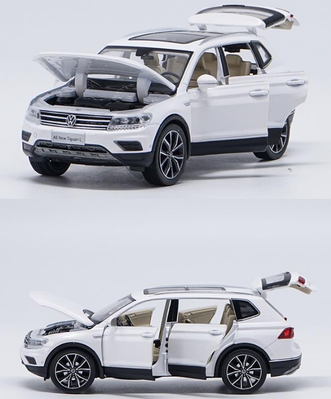 1:32 liga puxar para trás brinquedos de carro, alta imitação tiguan l, porta aberta música & flash & veículos de brinquedo, atacado