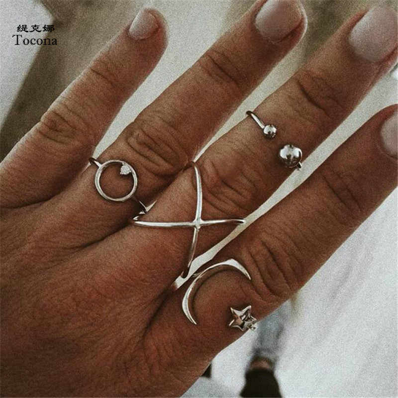 Tocona 4pcs/Set Vintage Antique Silver Moon Star Circle Opening Finger Midi Knuckle Rings Set for Women Bohemia Jewelry 5498