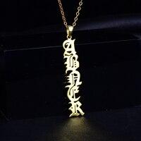 Rainmarch nombre Collar de plata personalizada placa collar inglés antiguo nombre joyería bridesmaid regalo