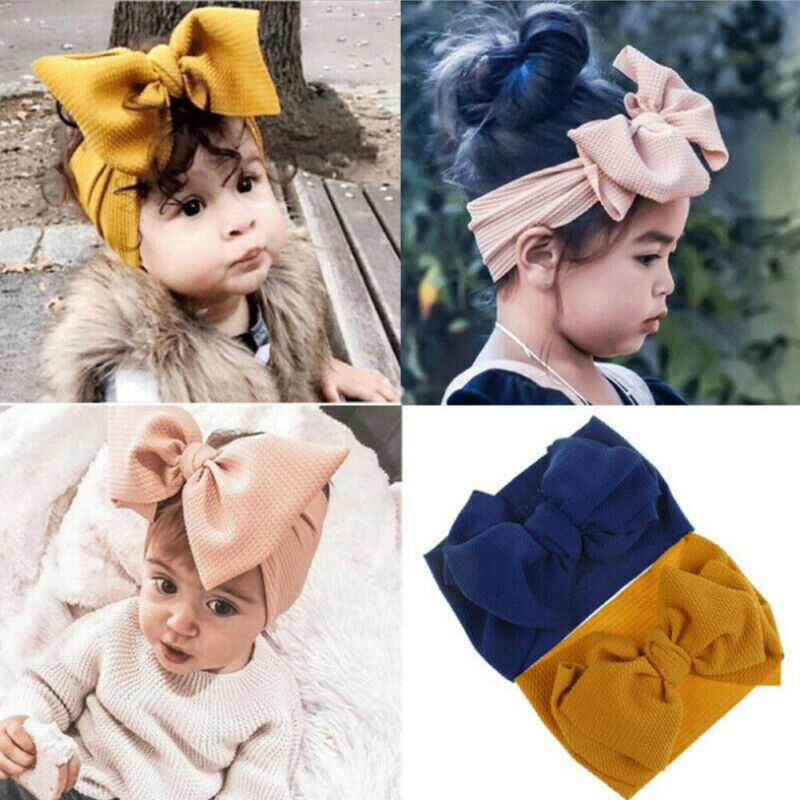 2019 Baby Kids Girl Flower Headband Big Bow Headband Hair Band For Baby Girl Headwrap Solid(China)
