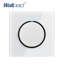 Wallpad 2019 New Arrival 1 Gang Way Random Click Push Button Wall Light Switch With LED Indicator Crystal Glass Panel 16A
