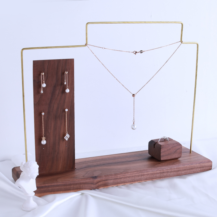 цена Black Walnut Solid Wood Earrings Pendant Necklace Display Stand Jewelry Display Holder Chain Earrings Frame