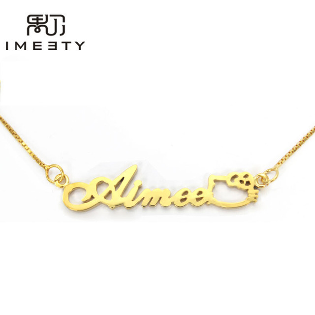 531340c69 IMEETY personalized kids necklace silver girl nameplate necklace handmade  custom hellokitty baby name necklaces gift