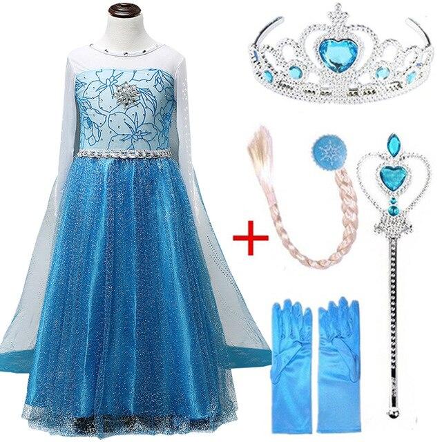 Платье Эльзы для девочек; Новинка; костюмы Снежной Королевы для детей; платья для костюмированной вечеринки; платье принцессы; disfraz carnaval vestido de festa infantil congelados - Цвет: elsa set G
