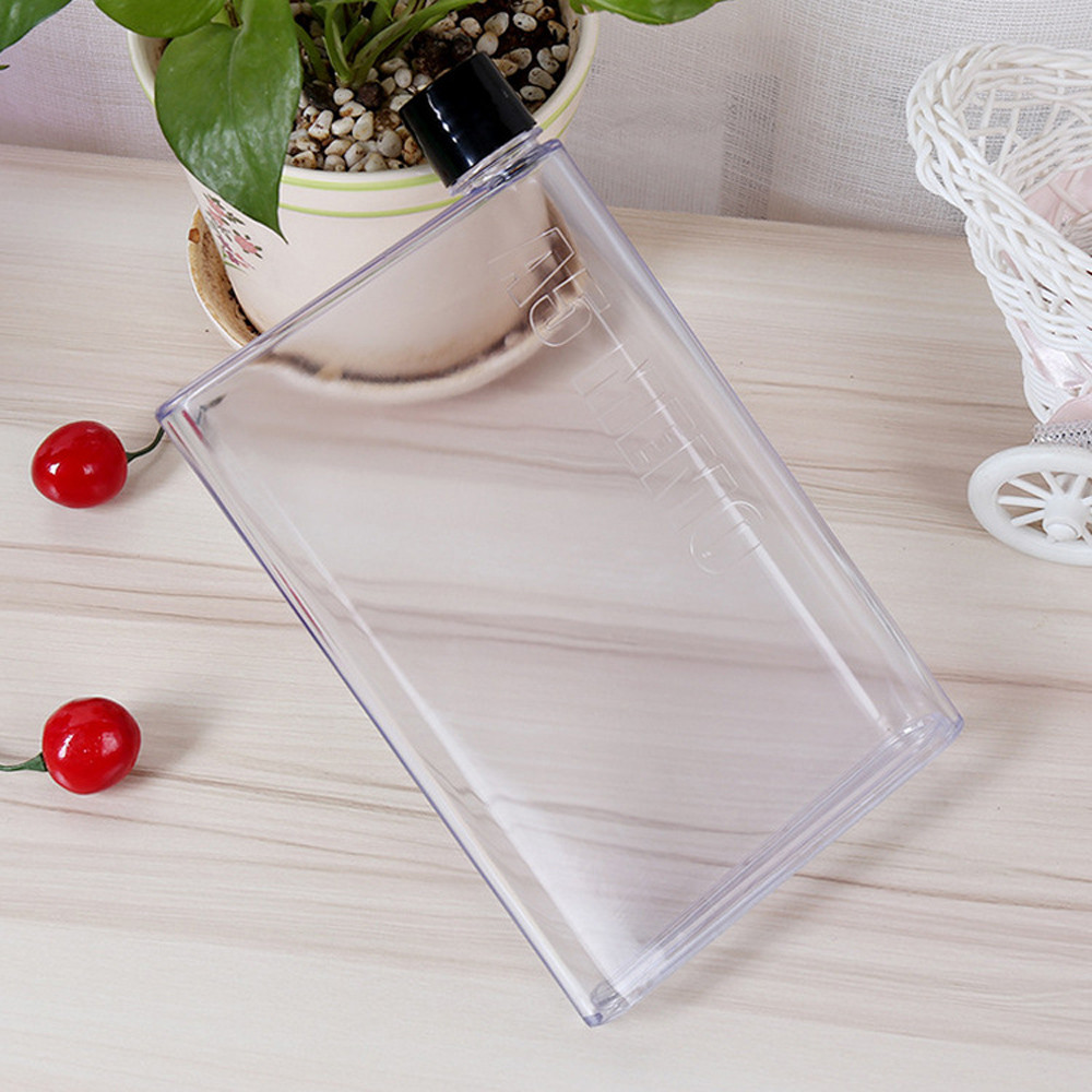 Clear Book Portable Paper Pad Flat Kettle Drinkware Sports Plastic Water Bottle