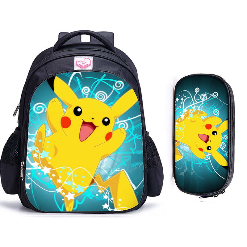 2PCS/SET Anime Pokemon Backpack Pocket Monster School Bag Ash Ketchum/Pikachu School Bags Girls Boys Satchel Kids Book Bags
