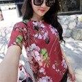 European Fashion Geranium Printed Women T shirt Little Bees Beading T-shirt Short Sleeve O-neck Casual Ladies T-shirts 63274