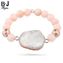 BOJIU Womens Bracelet Chakra For Women Natural Stone Druzy Elastic Beaded Fahion Jewelry BC64
