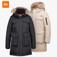 Original Xiaomi 90 points Coat Outdoor Leisure Long Section 80% Goose Down Jacket 4 Waterproof Winter Jacket Men Down Jacket
