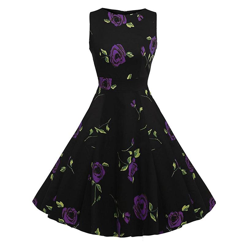 Kostlish Cotton Summer Dress Women 2017 Sleeveless Tunic 50s Vintage Dress Belt Elegant Print Rockabilly Party Dresses Sundress (54)