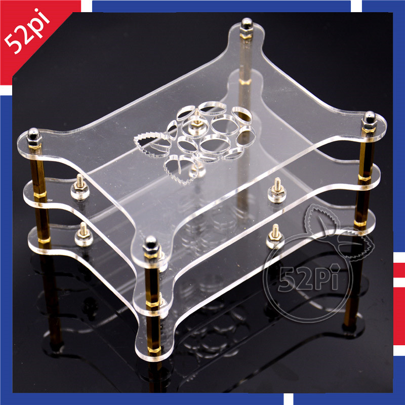 2-layer Transparent Acrylic Case Clear Shell Enclosure With Logo For Raspberry Pi 3 / 2 Model B / USB Hub