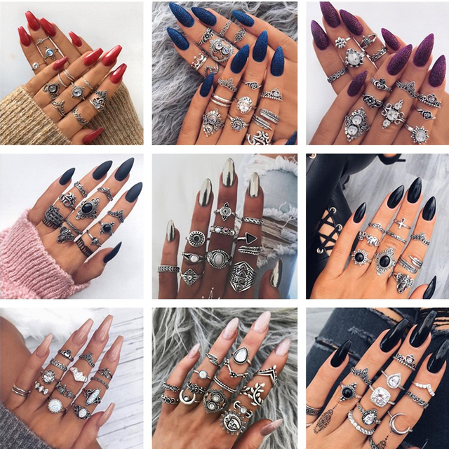 docona Vintage Silver Carved Geometric Knuckle Ring Set for Women Girl Rhinestone Midi Rings Set Party Jewelry Anillos