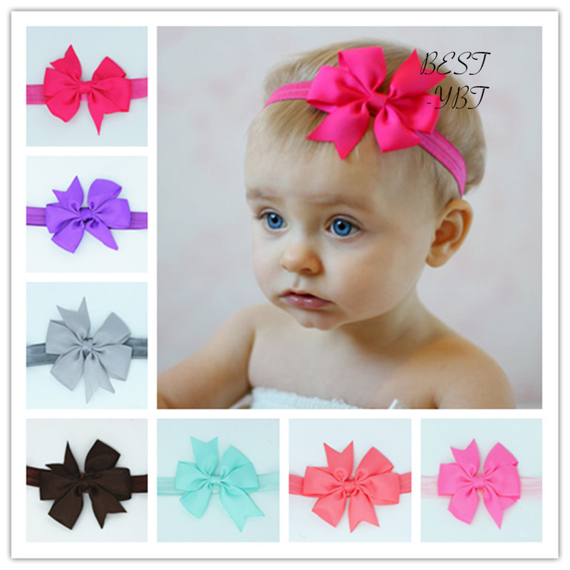 Fashion Lovely Girls Top Bowknot Headband Handmade Bow Elastic Head Band   Headwear   Accessories free shipping