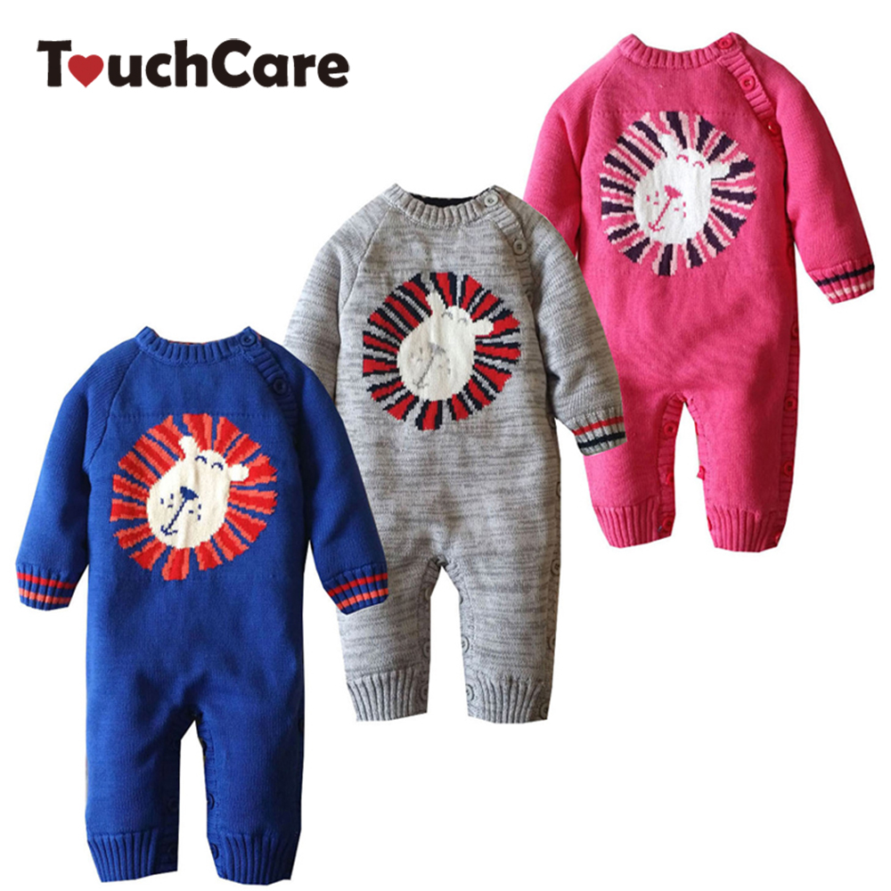 Cute Cartoon Lion Baby Boys Girls Rompers Newborn Soft Solid Long Sleeve Kids Clothes Fleece Ropa Bebes Costume Toddler Jumpsuit 2017 spring newborn rompers baby boys girls clothes long sleeve cute cartoon face cotton infant jumpsuit queen ropa bebes 0 24m