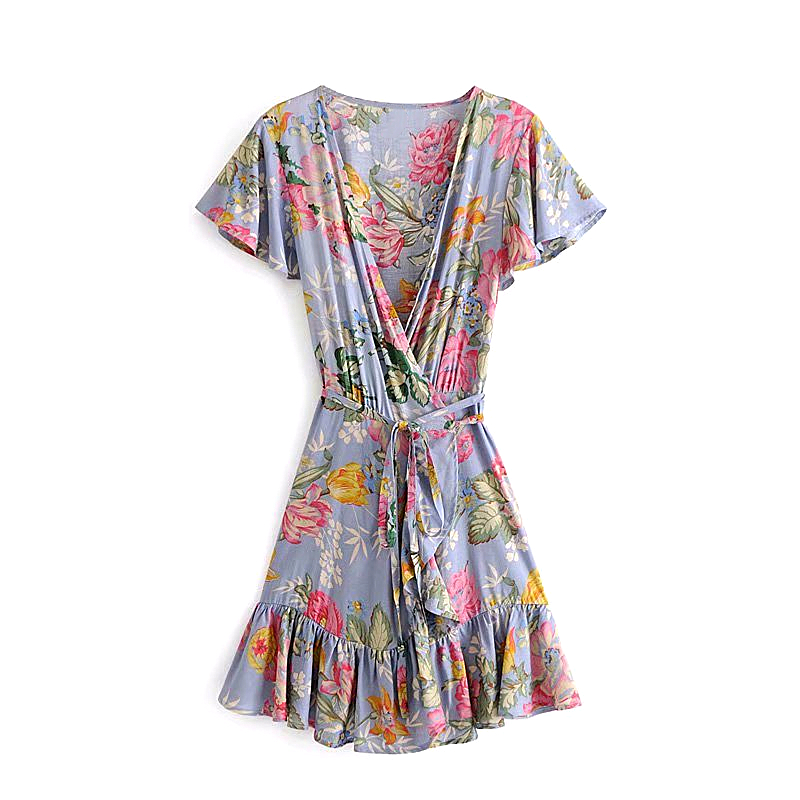 Beach Style Chic Vintage Floral Print Mini Dress Women New Fashion Sweet   Holiday Sashes Ruffles Dresses Vestidos Mujer