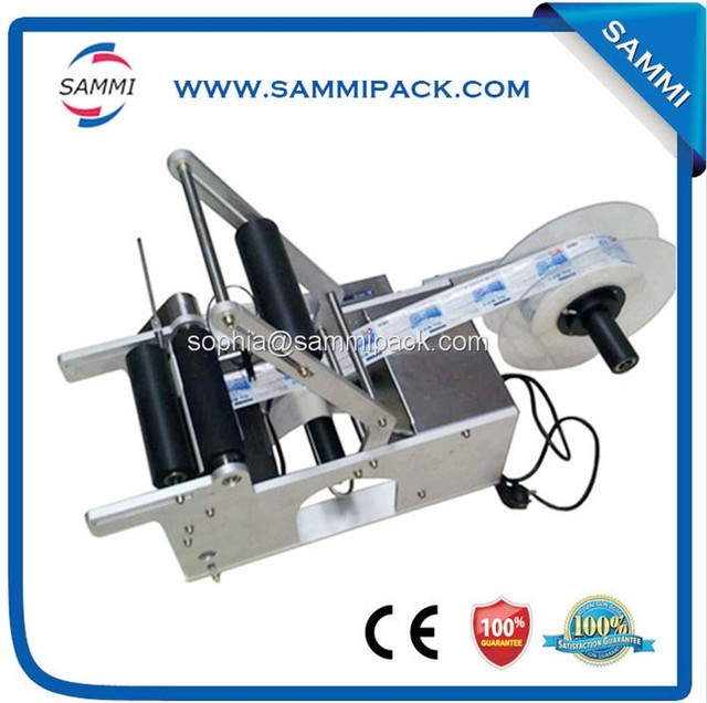 New Arrived MT-50 glass Manual Round Bottle Labeler/Glass Round Bottle Machine, round tank adhesive labeling machine