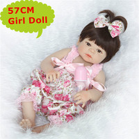 NPK 57CM Lifelike Baby Girl Reborn Doll Adora Full Body Silicone Bebe Reborn Boneca In Floral Skirt Birthday Gift To Girls Kids