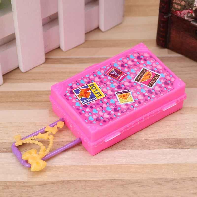 1 pc Bonito Simulação Brinquedos Mala de Viagem Moda 3D Jogo Casa de Jogo Plástico Bonecas Em Miniatura Acessórios Meninas Presentes