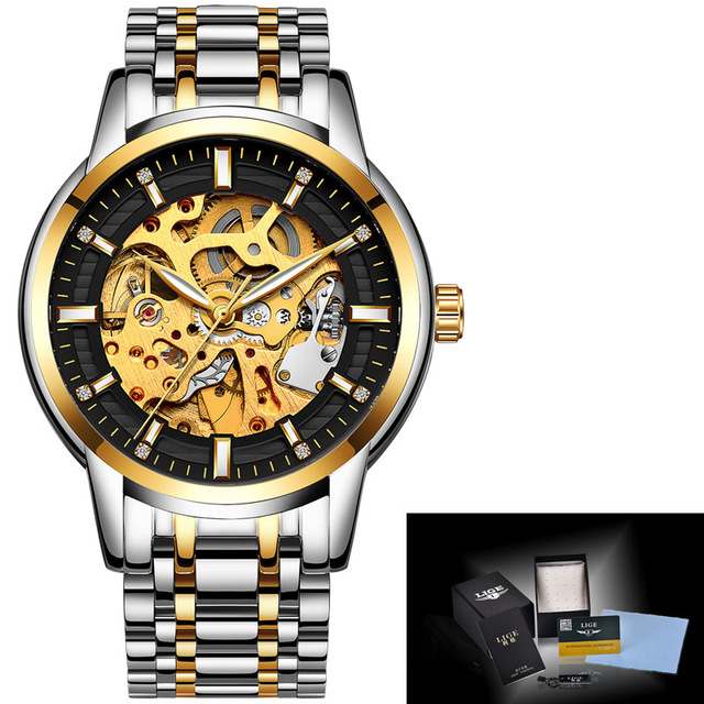 LIGE New Mens Watches Top Brand Luxury Automatic Mechanical Watch Men Full Steel Fashion Business Watch Relogio Masculino цена 2017