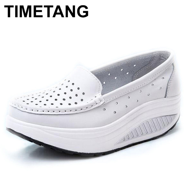 TIMETANG Summer genuine leather cutout breathable swing shoes white nurse shoes wedges heighten shoes mother shoes sandals C219