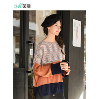 INMAN Women Fashion Clothing Cotton Linen Lazy Stripped Patchwork Women Pullover Sweater