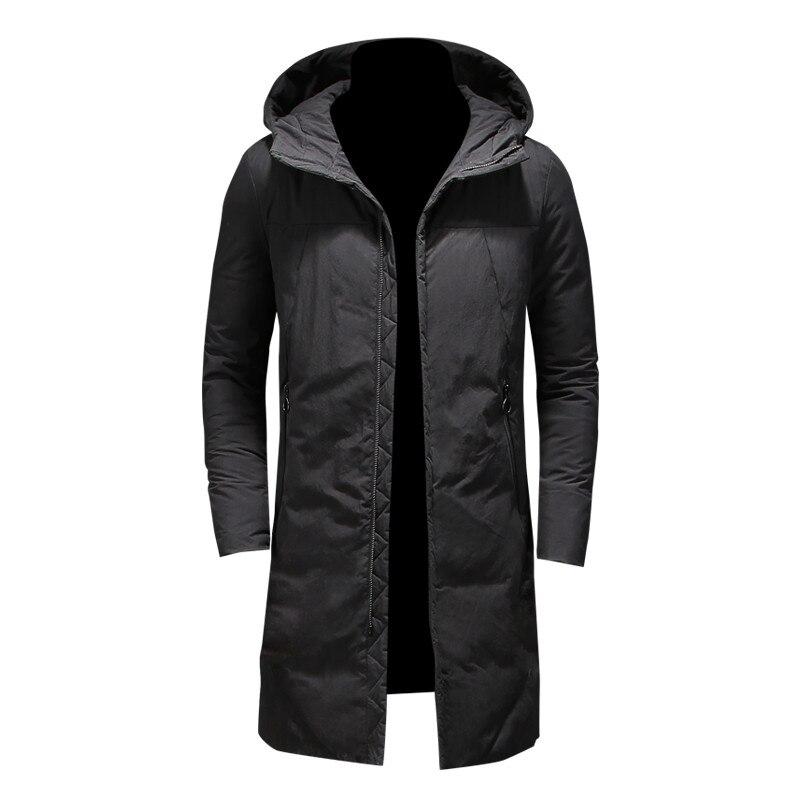 2017 nouveaux vêtements vestes affaires Long épais hiver coton manteau hommes solide Parka mode pardessus noir kaki M-4XL