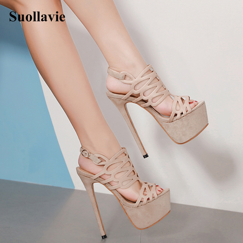 Women Platform Shoes Flock Rome 2019 New Summer Sexy High Heels Open Toe Ankle Buckle Nightclub Shoes Black Ladies Heel Sandals in High Heels from Shoes
