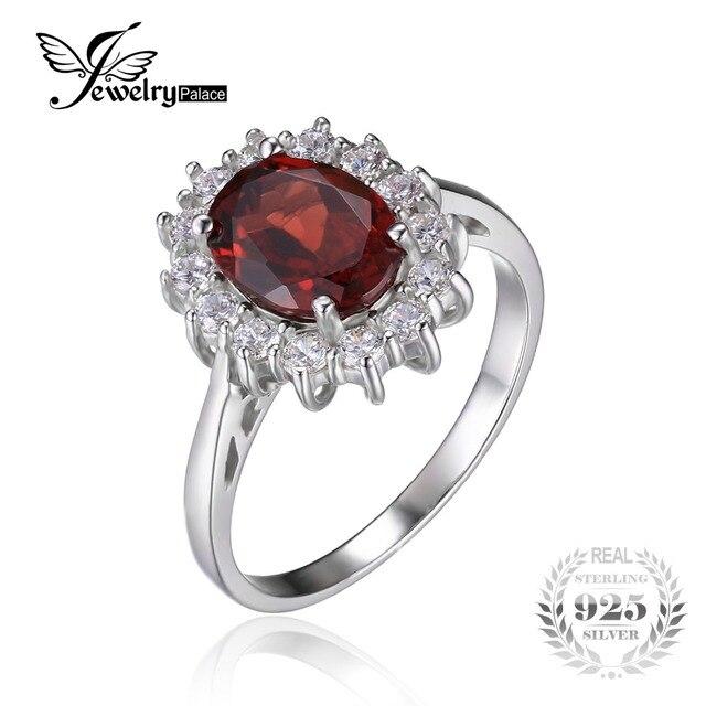 Jewelrypalace 2.5ct natural garnet kate princesa diana anel de noivado de halo genuine pure 925 sterling sliver jóias para as mulheres