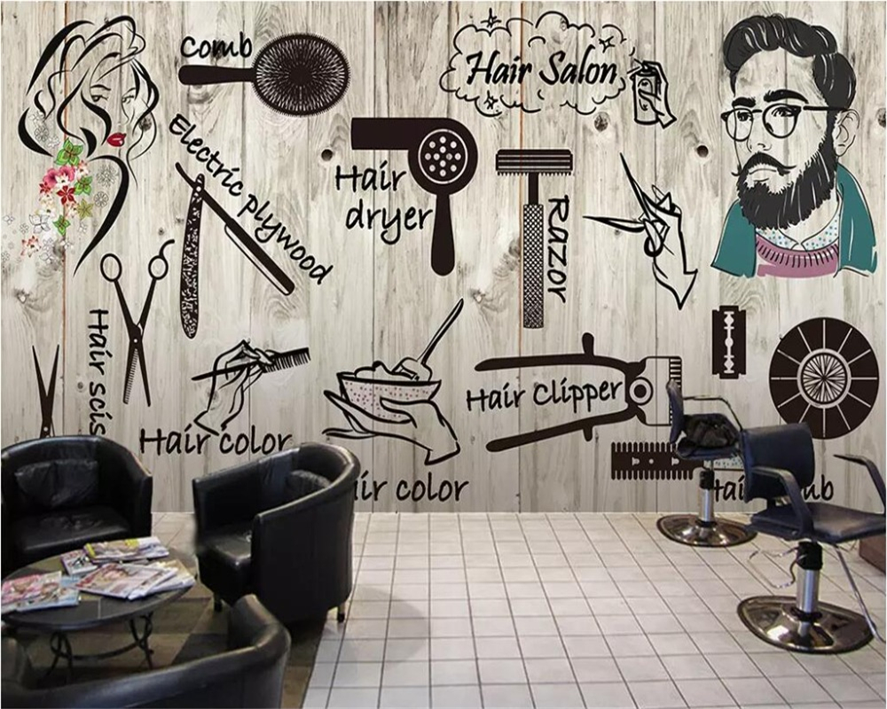 Us 885 41 Offbeibehang Wallpaper Custom Large Scale Nordic Style Hair Salon Hair Salon Beauty Salon Nail Shop Wallpaper Papel De Parede 3d In