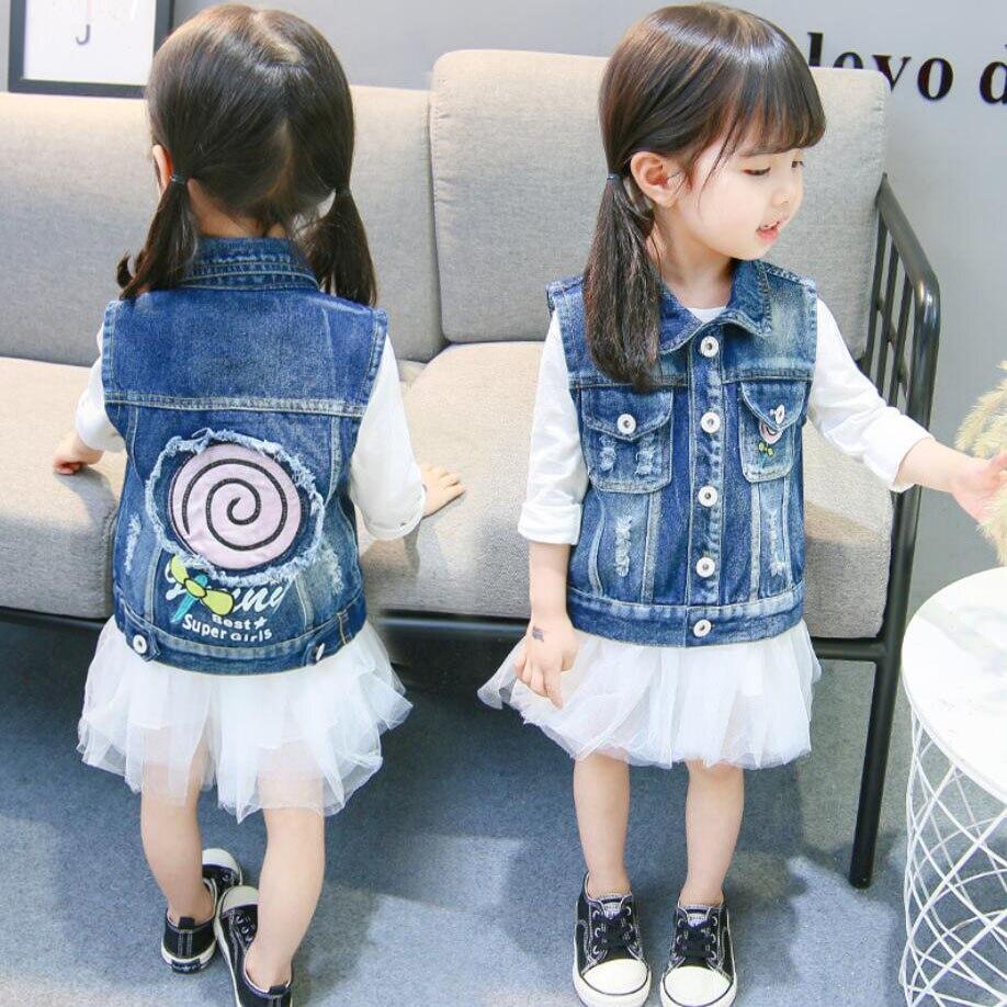 Girls waistcoat kids cotton denim jacket coat baby cartoon pattern outwear spring autumn fashion waistcoat cowboy vest child