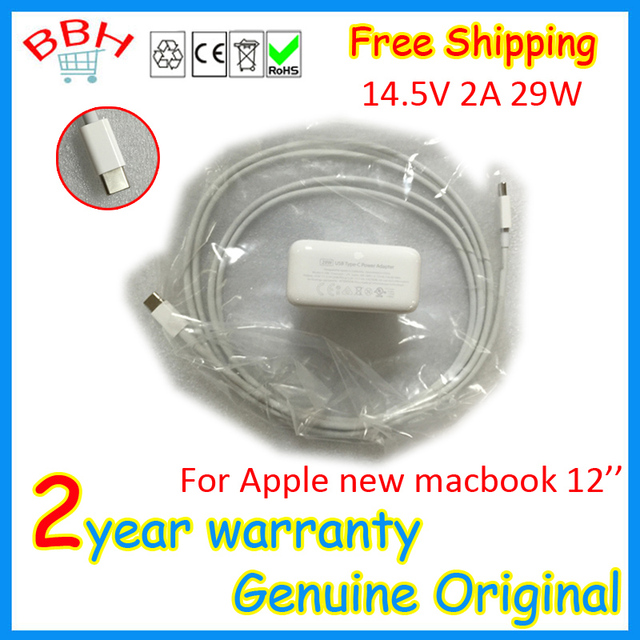 new A1540 for Apple New Macbook 12'' inch A1534 USB-C power adapter + charge cable (2 M) 14.5V 2A 29W
