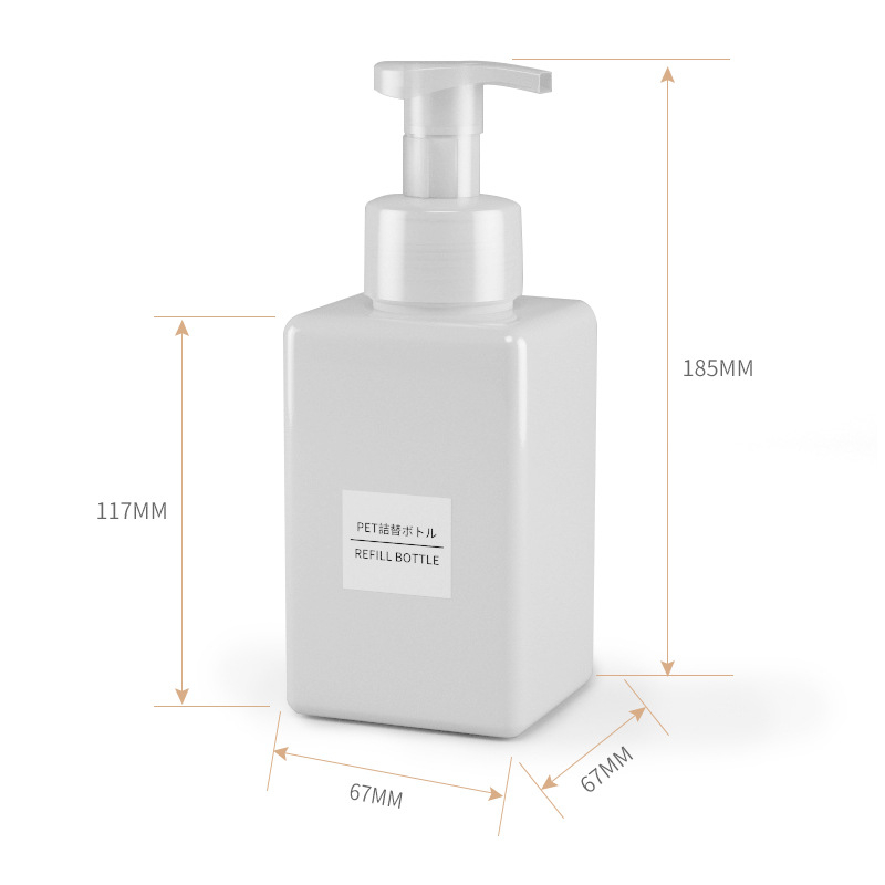 Image 3 - 1pcs 450ml square foam blister bottle press bottle PETG bottle facial cleanser bottling hand sanitizer bottle BQ017-in Storage Bottles & Jars from Home & Garden
