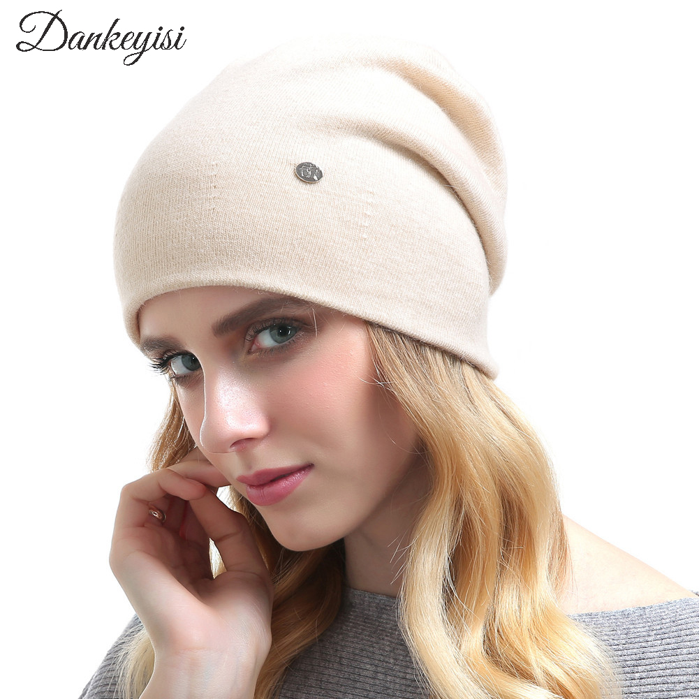 DANKEYISI New Cashmere knitting beanie caps solid warm winter hats for women's cap skullies beanies Ladies female hat bonnet wuhaobo the new arrival of the cashmere knitting wool ladies hat winter warm fashion cap silver flower diamond women caps