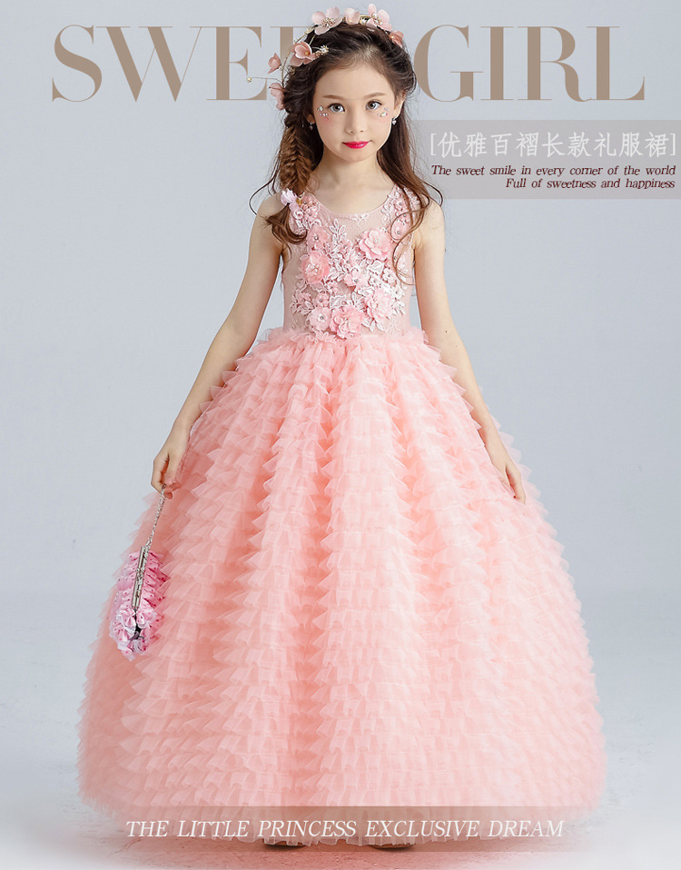 Sweet Pink Tulle Wedding Dress Lace Flower Girl Dress Ankle Length Appliques Bead Kids Party Prom Dress First Communion Dresses