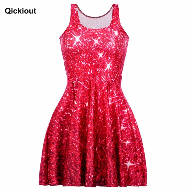 e983bd6dc4 US $8.54 30% OFF|Qickitout Dress Hot Product New Women's Red Star shining  Galaxy Dress Digital Printing SKATER DRESS Vestido Plus Size-in Dresses  from ...