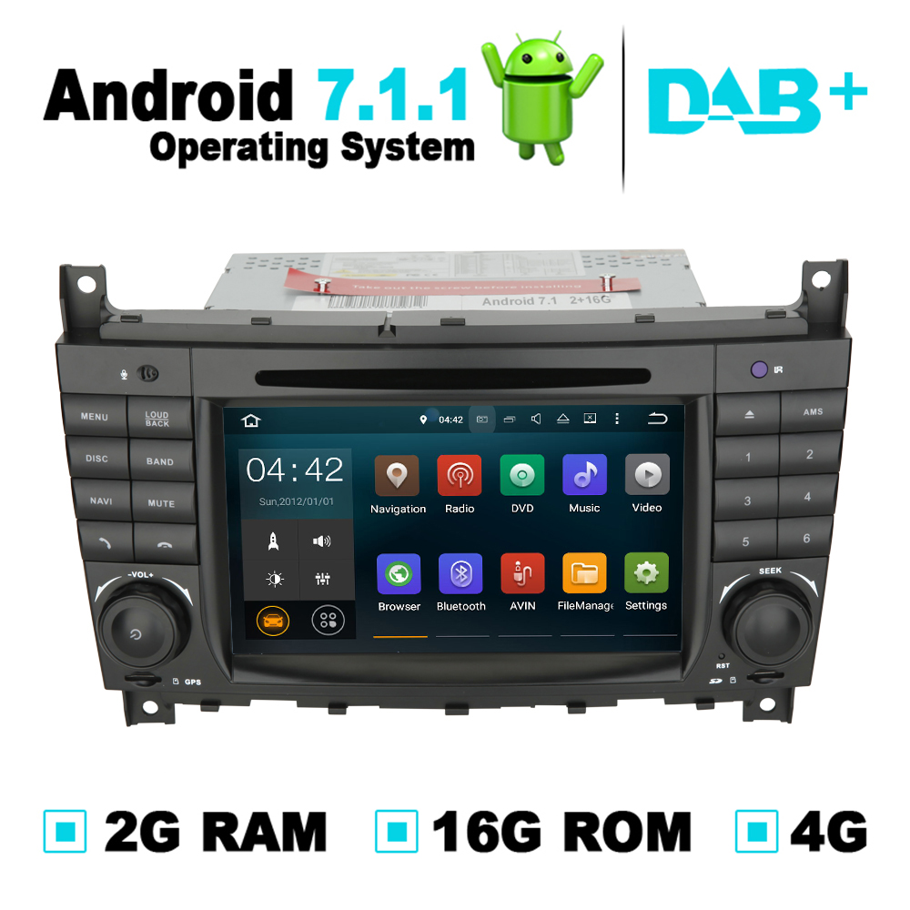 Android 7.1 Auto DVD Radio Player GPS Audio Video Player Stereo For Mercedes C Class W203 for Mercedes CLK Class W209 DAB+ футболка с полной запечаткой женская printio миньон