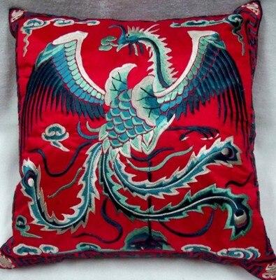 Вышивка Феникс декоративная Рождественская наволочка для подушки 43x43 см диван подушка на спинку стула винтажная китайская наволочка - Цвет: Красный