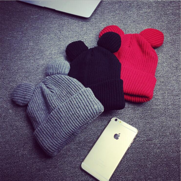 1pcs Female Fashion Cute Ear Shape Cap Warm Winter Hat For Women Girls's Knitted Hat Cap Brand New Hip Hop Cap Winter Beanie
