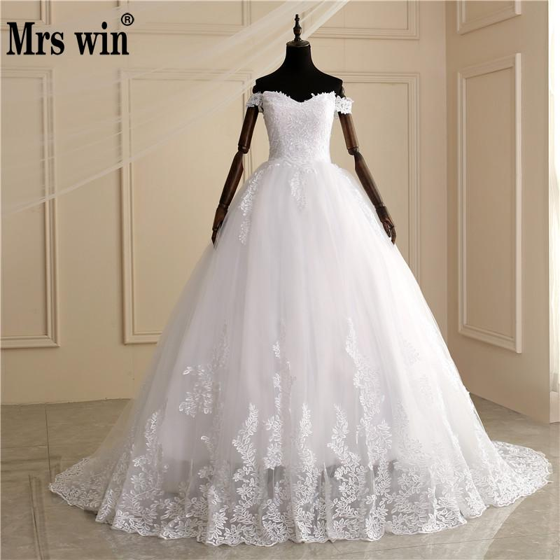 2020 Luxury Off Shoulder Ball Gown Lace Wedding Dresses Sweetheart Sheer Back Princess Illusion Applique Bridal Gowns Casamento