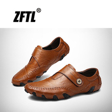ZFTL Men Peas shoes Octopus driving shoes Genuine Leather man Loafers Big size Casual Hand-stitched shoes male boats shoes   026 цены онлайн