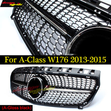 W176 Diamant Depan Grille untuk Mercedes Benz A180 A200 A250 Kisi Mobil Styling ABS Gloss Hitam Auto Depan Grill Grille 2013-2015(China)